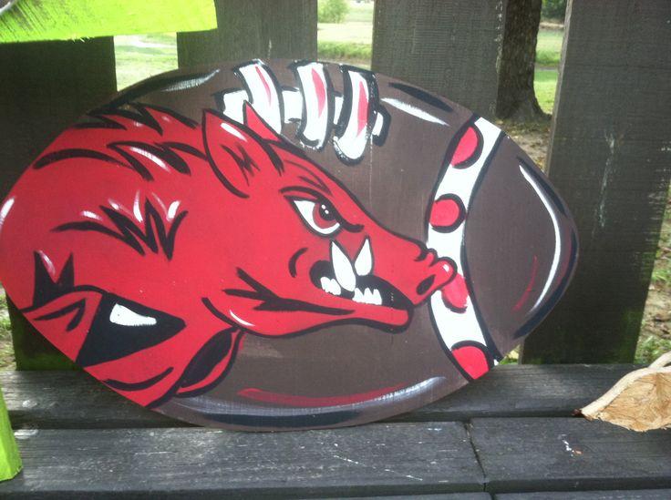 Razorback arkansas hogs football door hanger or yard stake