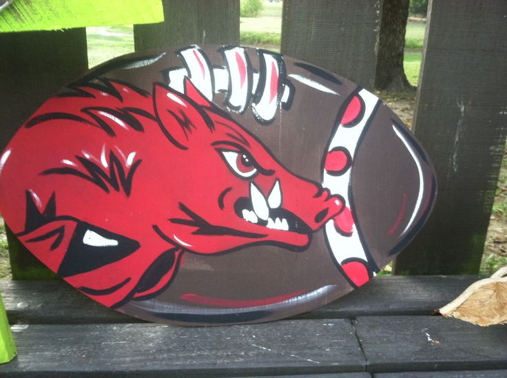 Razorback arkansas hogs football door hanger or yard stake