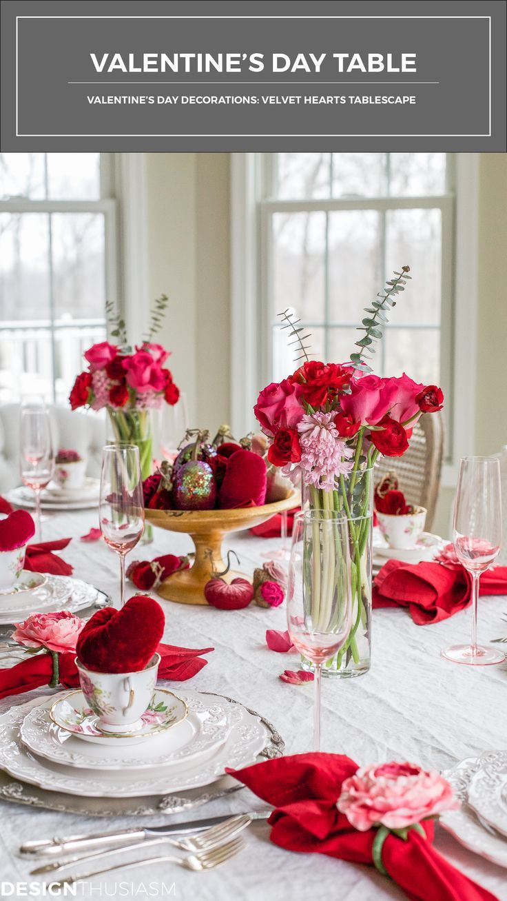 Gorgeous velvet hearts add plush texture and rich color to the Valentine's Day decorations that adorn this holiday tablescape | #Designthusiasm
