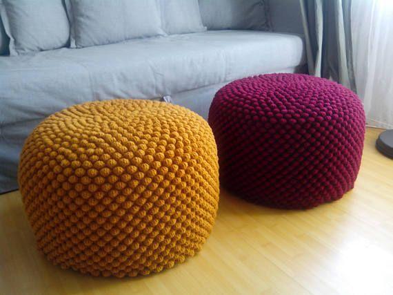 Crochet Mustard Yellow Round Stuffed Pouf Ottoman Knit Wool