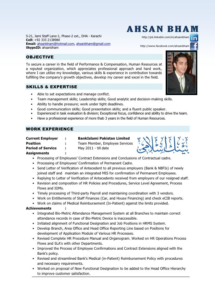 Resume Format For 4 Years Experience In Hr In 2021 Hr Resume Resume Objective Statement Resume Writing Examples