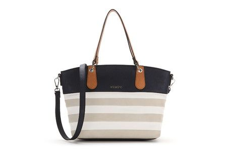 Two-tone bag with two shoulder straps. The main body of the bag is striped and the rest is a contrasting colour. It includes a shoulder strap so that it can be carried and practical interior pockets.  #Abbacino #Summerinthecity #SS15