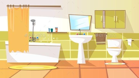 Vector Cartoon Bathroom Interior Background Bathroom Interior