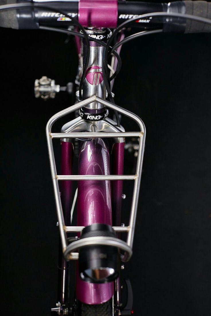 Custom stainless front rack and stem.  Busch&Muller IQ X head light detail. #pilisiecki #crossbicycle #columbus #schmidt #dtswiss #selleitalia #pi #custom #bikerack #bicyceframe #bespoke #newbike #pink #eggplant #bikeporn #gravel #steelisreal #steel #trp #chrisking #ritchey #brooks #retroshift #paragonmachineworks #columbusXCR