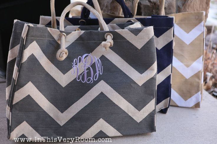 Monogrammed Chevron Stripes Jute Tote Bag. $28