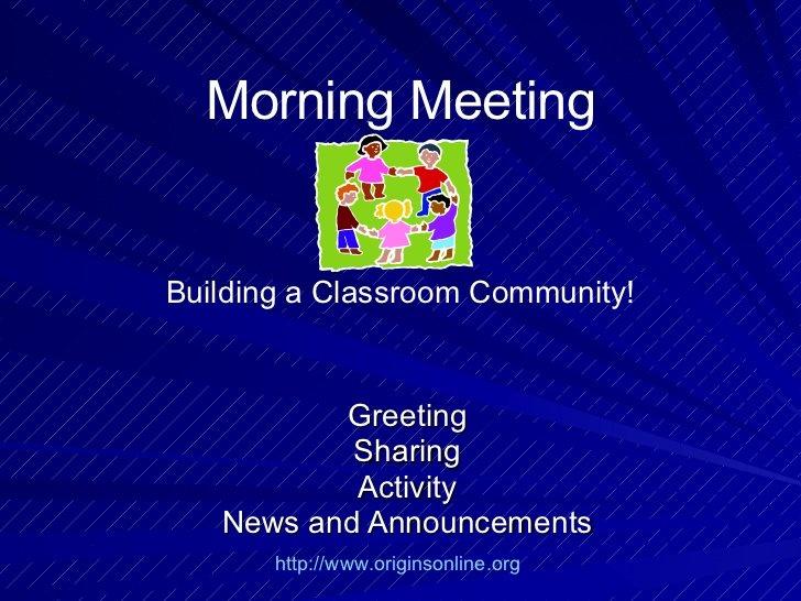 Morning Meeting Activities