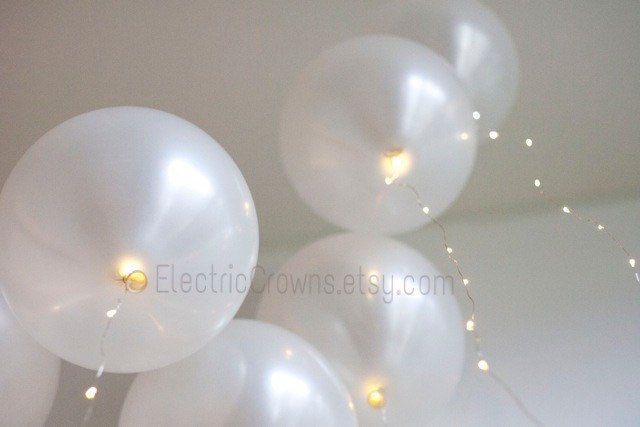2 Sets! Fairy Lights for Helium Balloons. Led lights for Wedding Balloons Wedding Lights  Party balloons  Reception Bridal Shower decor by ElectricCrowns on Etsy https://www.etsy.com/listing/233587320/2-sets-fairy-lights-for-helium-balloons