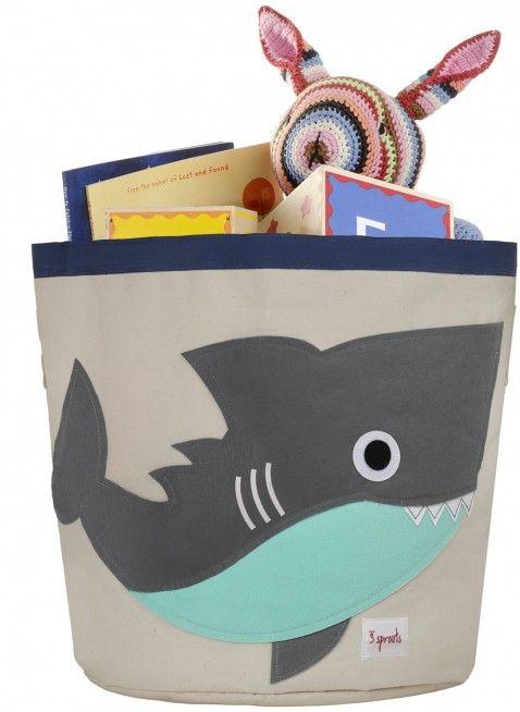 Coole Aufbewahrung für Spielzeug und Kram im Kinderzimmer: 3 Sprouts Spielzeugkorb Hai. Erhältlich bei www.kleinefabriek.com.