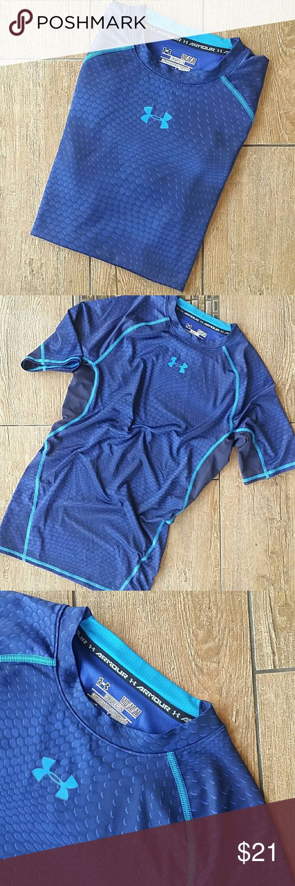UNDER ARMOUR COMPRESSION SHIRT Royal blue/aqua/navy blue Crew neck Short sleeve Navy mesh underarm and down side No rips, stains, snags or peeling of logos Smoke free home Under Armour Shirts Tees - Short Sleeve
