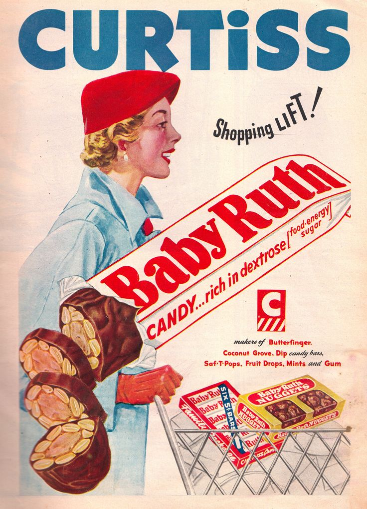 1950's vintage Baby Ruth advertisement | Vintage Candy Ads ...