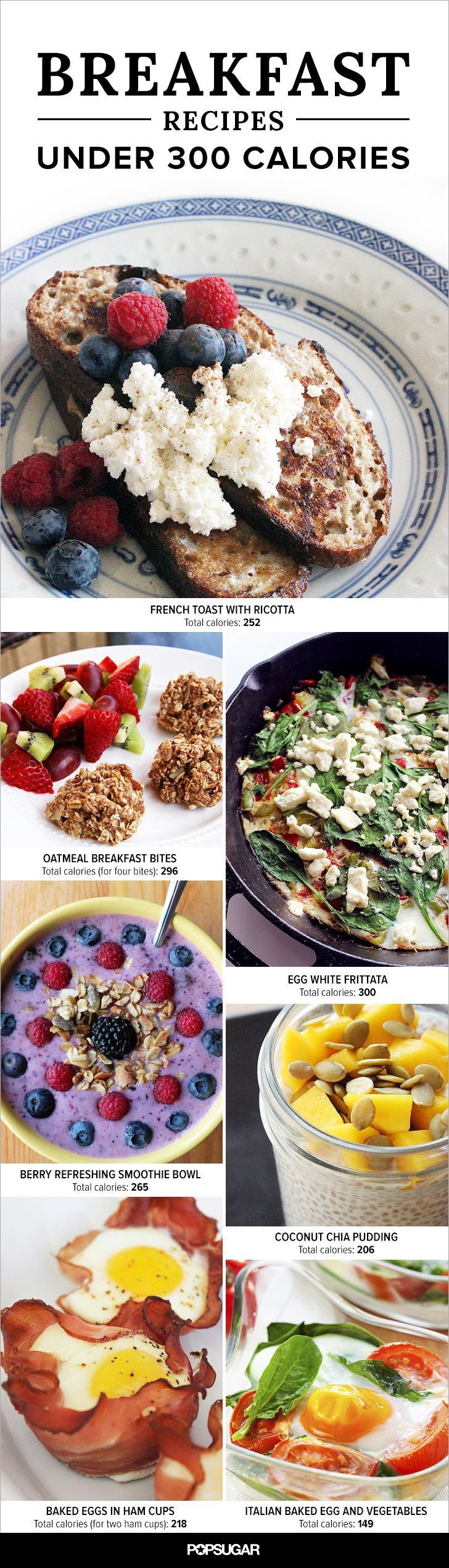Healthy and filling breakfast recipes that are under 300 calories each.