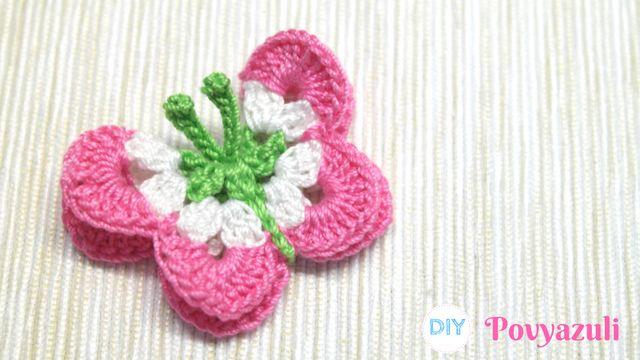 DIY Crochet and Knitting Povyazuli: [Crochet] How to crochet the 3 dimensional butterfly application.