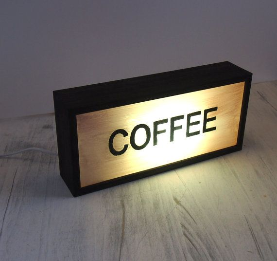 "New Hand-Painted ""COFFEE"" Vintage Lighted Sign / Illuminated Sign / Lightbox / Wall or Table Lamp / Industrial Rustic / Reclaimed Plastic"