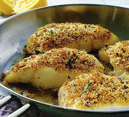 Lemon, herb & Parmesan crusted fish  25g breadcrumbs, 1/2 zest of lemon, 15g grated parmesan, 1 tbsp chopped parsley, 2 skinless fillets of white fish, 25g butter, 1/2 juice lemon