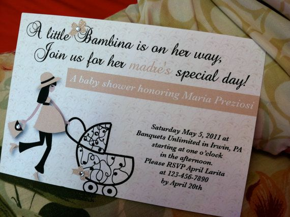 Italian Baby Shower Invitation with A Stylish Maternity Woman