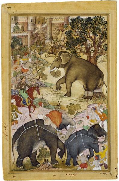 This illustration to the Akbarnama (Book of Akbar) depicts the Mughal emperor Akbar (r.1556–1605) on horseback.