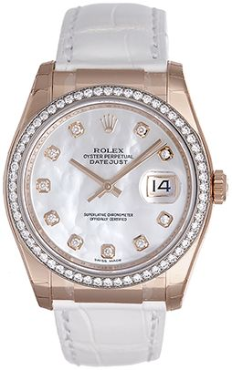 Rolex 18k Rose Gold date just with diamonds