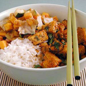 Vegetable Tagine with Baked Tempeh Recipe | MyRecipes.com Mobile