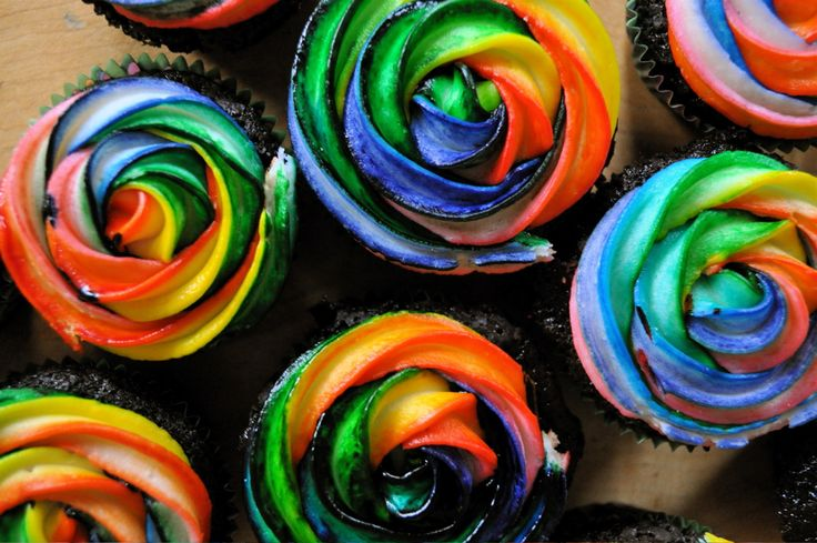 Rainbow Frosting How-To (Great for dark/chocolate colored cupcakes.)