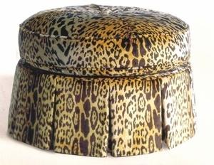 Scalamandre small canterbury ottoman upholstered in Scalamandre Leopardo silk velvet