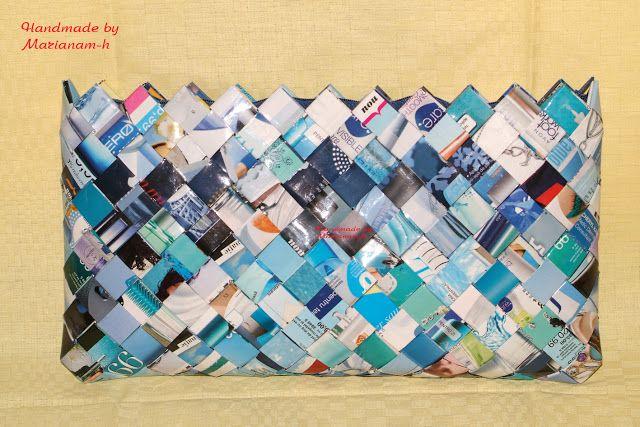 Handmade by marianam-h: Poseta din hartie - albastra Blue Paper Candy Wrap...