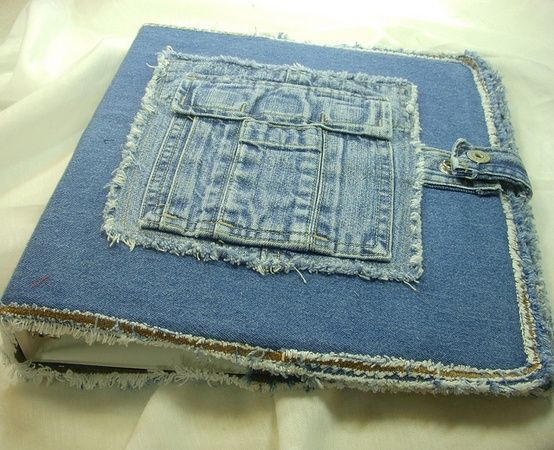 shabby denim book cover with waist snap closure