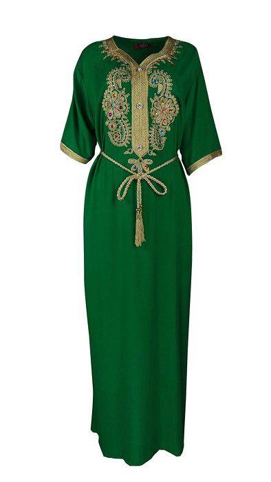 Muslim Abaya Dubai Kleid für Frauen islamischen Kleid Islamische Kleidung muslimische Kaftan Rayon Gewand Jalabiya 1606-GREEN-XL