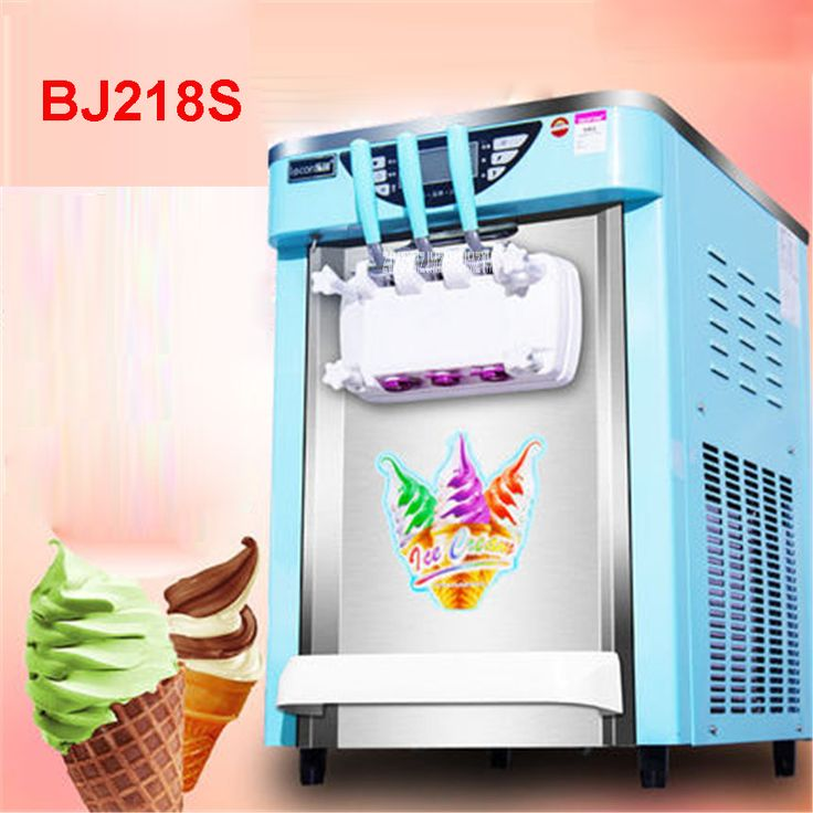 BJ218S Commercial Soft Ice Cream Machine 2000W 220V/50 Hz Ice Cream Maker 21-26L / H 3 Flavors Yogurt Cylinder volume  7.2L * 2 #Affiliate