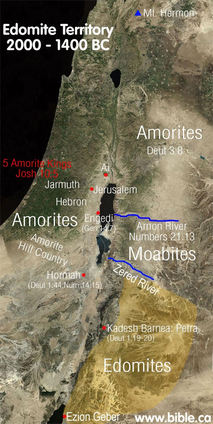 "Seir occupied by Horites in 2000 BC  Esau first occupied ""Edom"" in 1920 BC: Genesis 36  Edom continuously occupied from 1920-1000 BC"