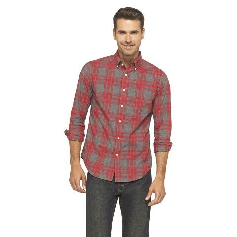 Merona Men's Plaid Shirt - Red