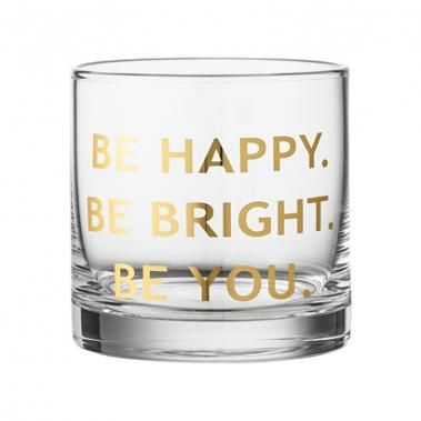 Drinking Glass, Clear w/Gold text