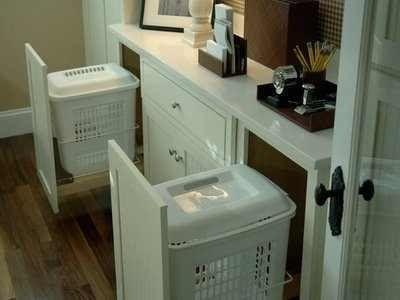 Bathroom Vanity With Laundry Basket Storage