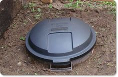 Dog Waste Compost Bin: Add in what your dog left behind, throw in some septic starter (we got ours in the hardware aisle of a grocery store), sprinkle with a little water, and put on the lid. And you're done!