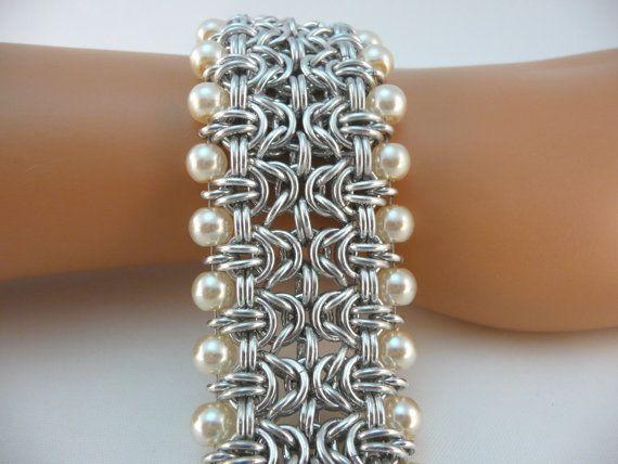 Periodo bizantino pulsera de brazalete con perlas de cristal