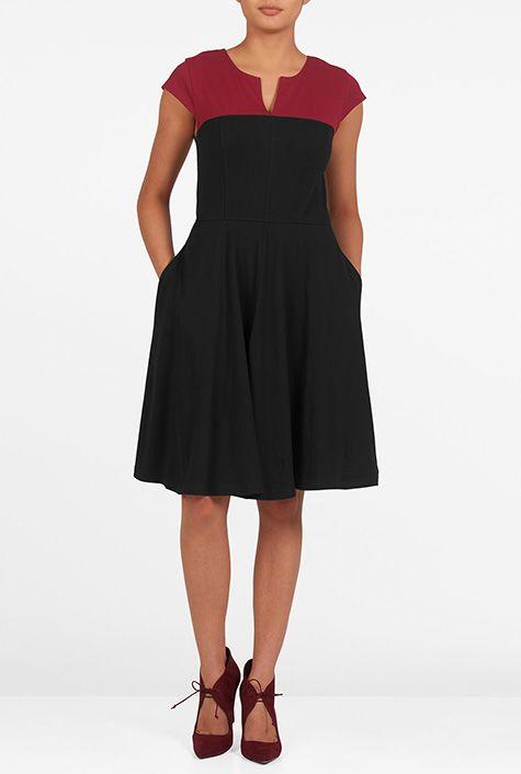 I <3 this Colorblock yoke cotton knit dress from eShakti