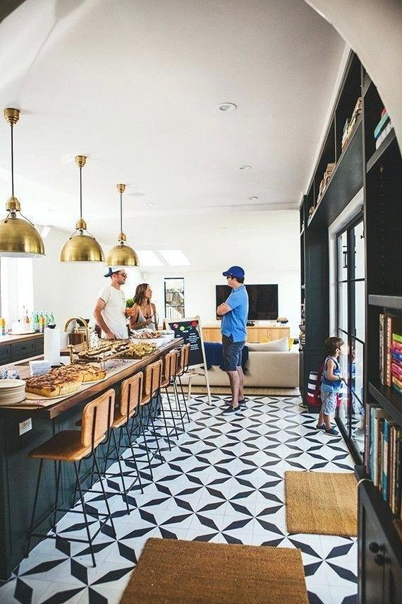 Black And White Tile Floor Kitchen Black And White Kitchen Tiles With Oversized Brass Pendants Above Kitchen Inspirations White Kitchen Tiles Kitchen Flooring