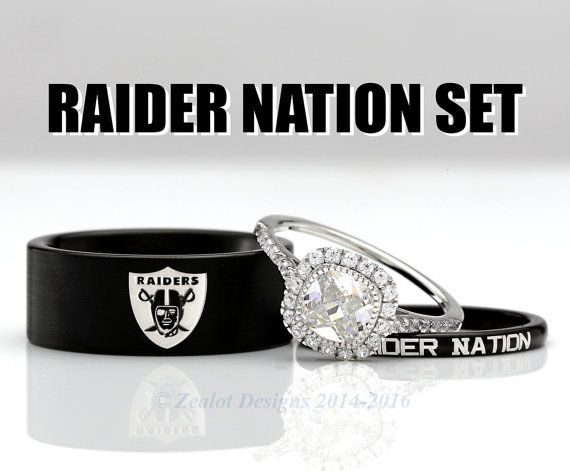 Oakland Raiders His and Her's 3piece Silver Custom Engagement SET Tungsten Wedding Band Ring Mens Womens Anniversary Set ALL Sizes Available