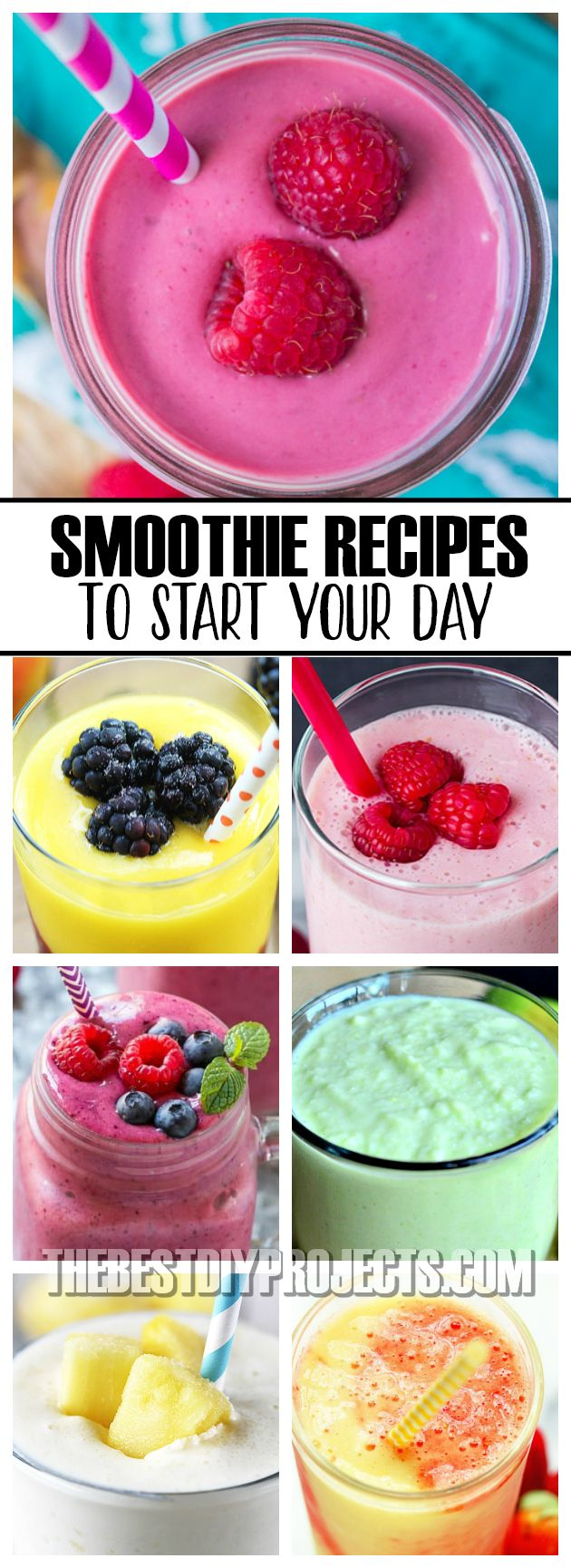 These Smoothie Recipes to Start Your Day have a delicious blend of fruits and greens that come together perfectly and make a breakfast drink that your family will love!