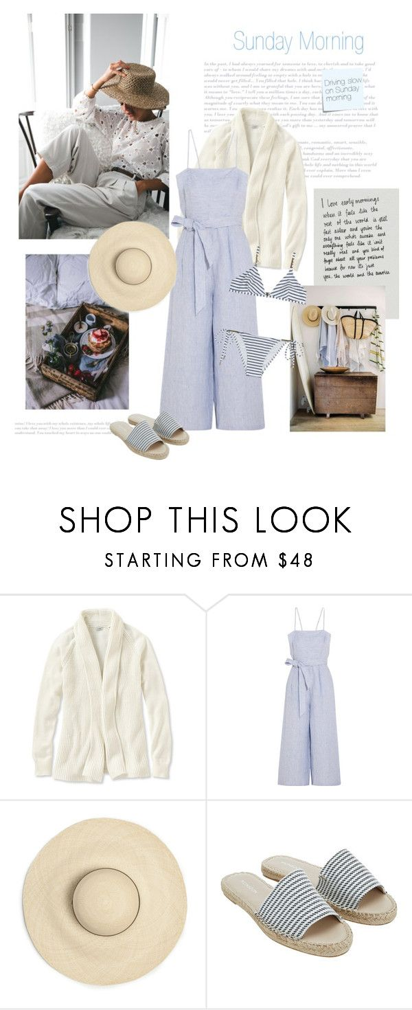 """""""Sunday Morning"""" by isidora ❤ liked on Polyvore featuring L.L.Bean, J.Crew, Monsoon, Melissa Odabash, Post-It and plus size clothing"""