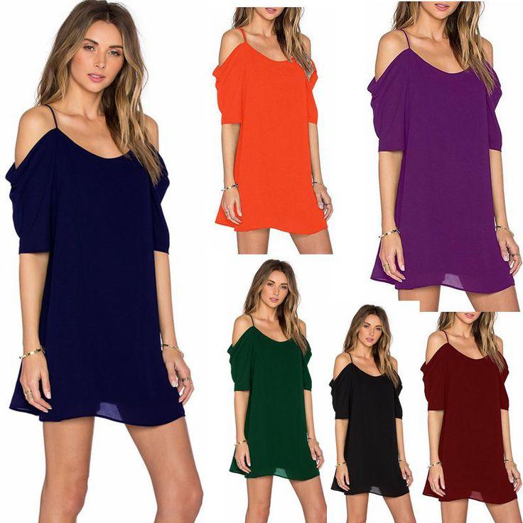 2017 New Cold Shoulder Pure Color Print Summer Dress Vintage Irregular Bow Wrap Short Dress Women Chic Chiffon Colour Dress - MISS LADIES
