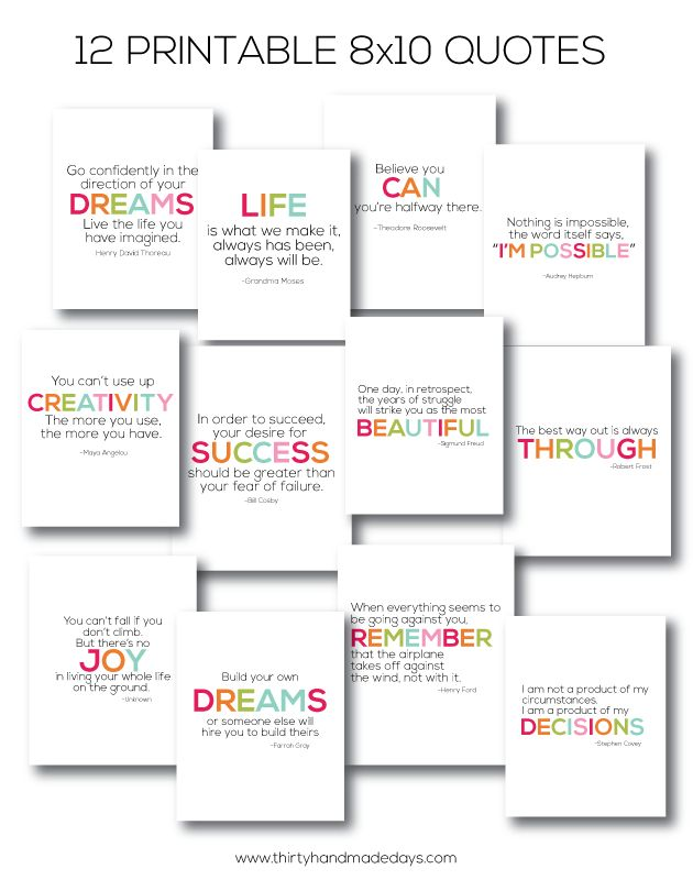 12 quotes- 8x10 printables www.thirtyhandmadedays.com