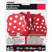 """12"""" Latex Red Polka Dots Balloons, 6ct"""