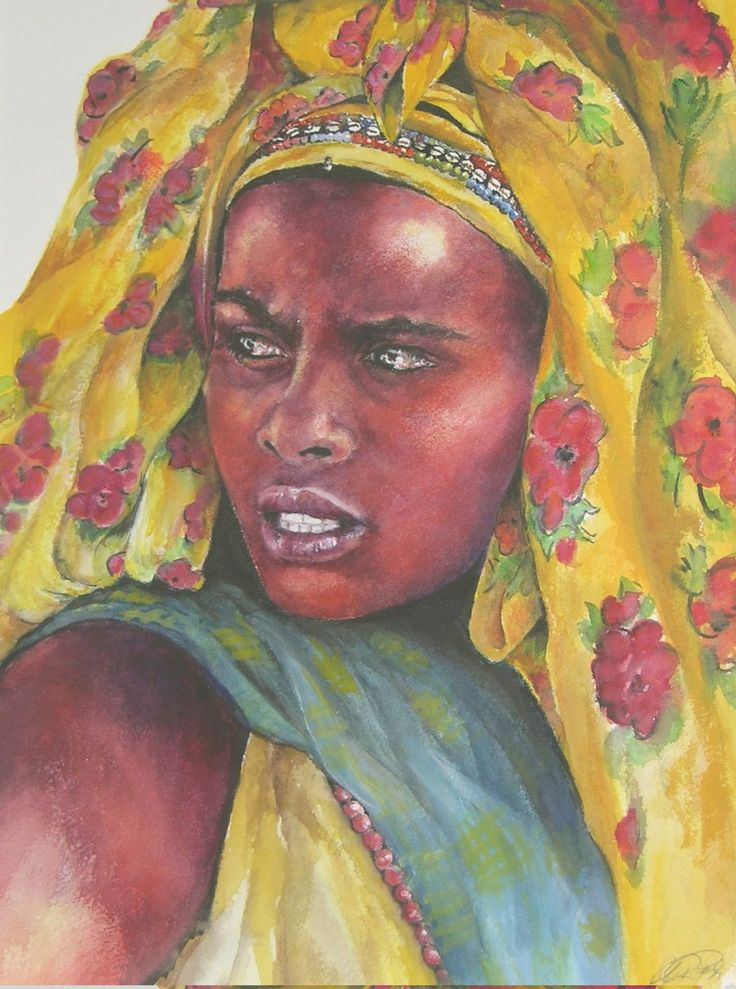 "African Artwork by Margrit, ""Somali WOman"", Ethiopia 