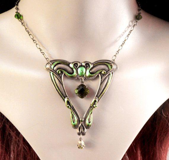 Green Art Nouveau ketting whiplash ketting door DarkenroseJewellery