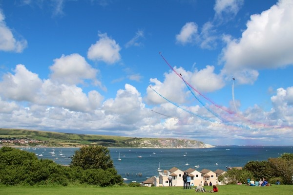 The Red Arrows Rock The Jurassic Coast over Swanage Bay