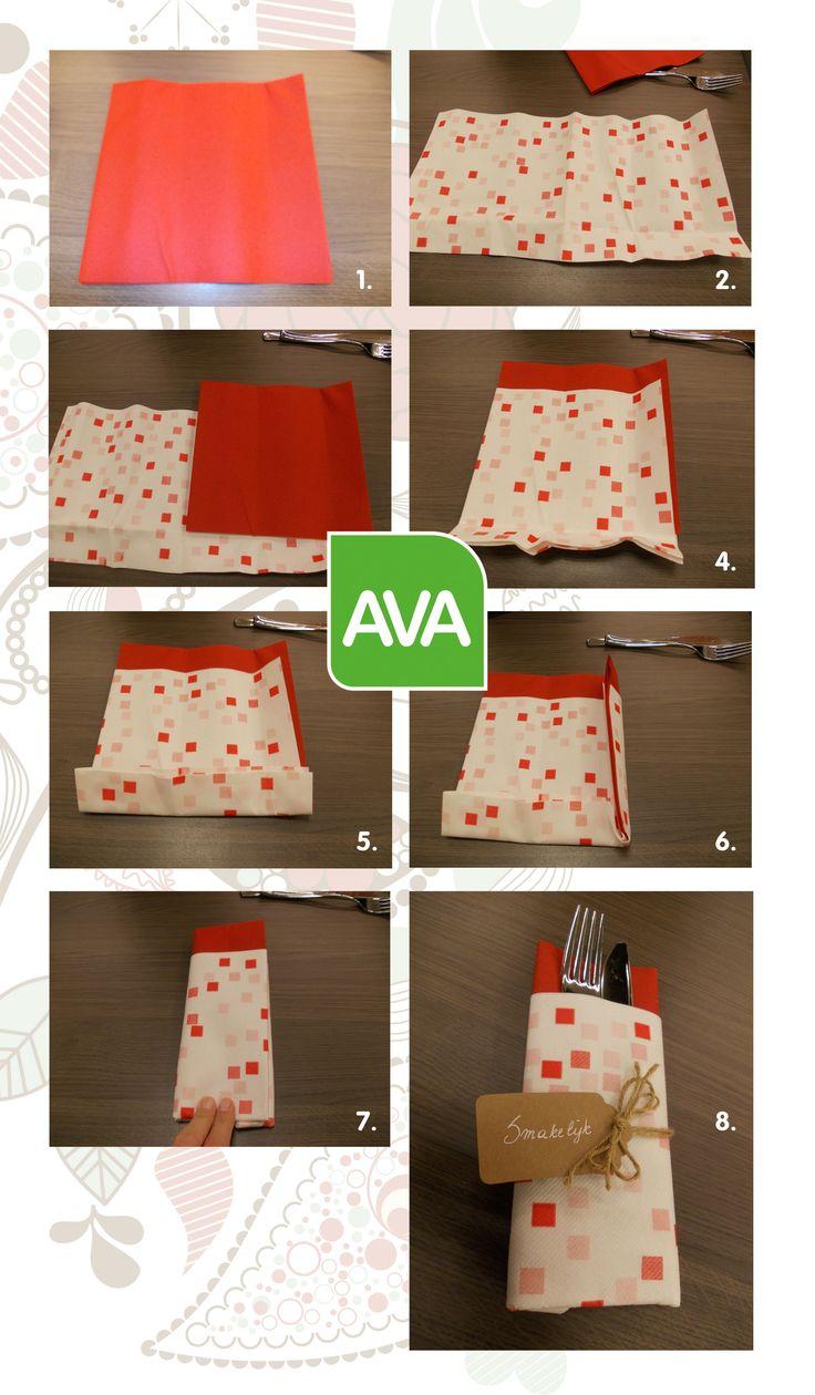 servet vouwen - pliage de serviette #DIY #AvaPapierwaren #Ava