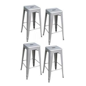 AmeriHome, 30 in. Silver Metal Bar Stool Set, (4-Pack), BS030SET at The Home Depot - Mobile