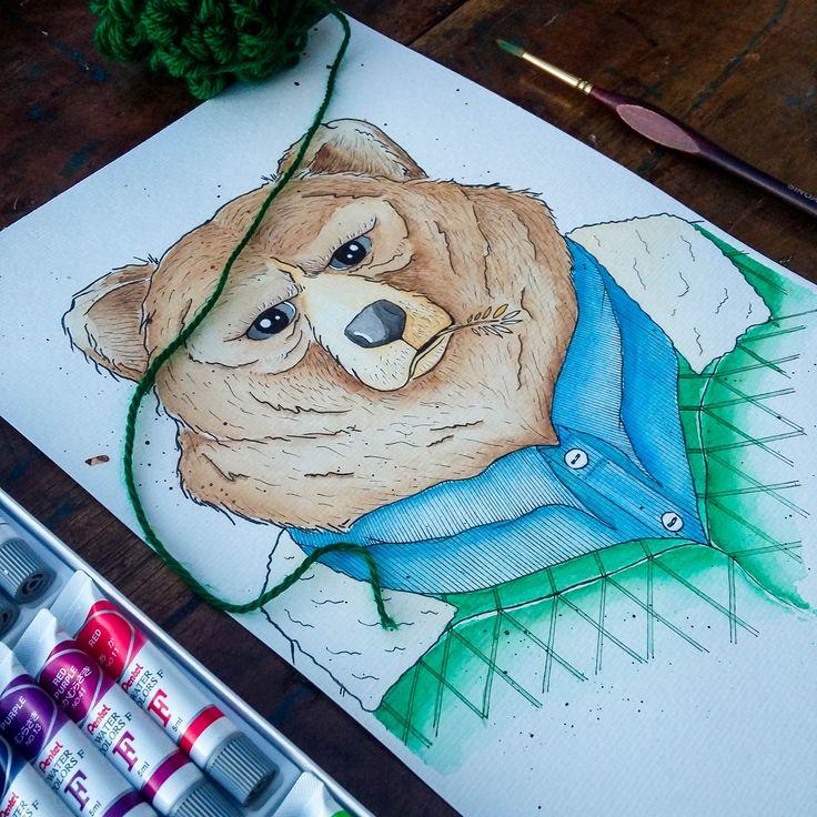 Watercolor Papa Bear. @anacbeier - Facebook/anacristibeierilustrações.com