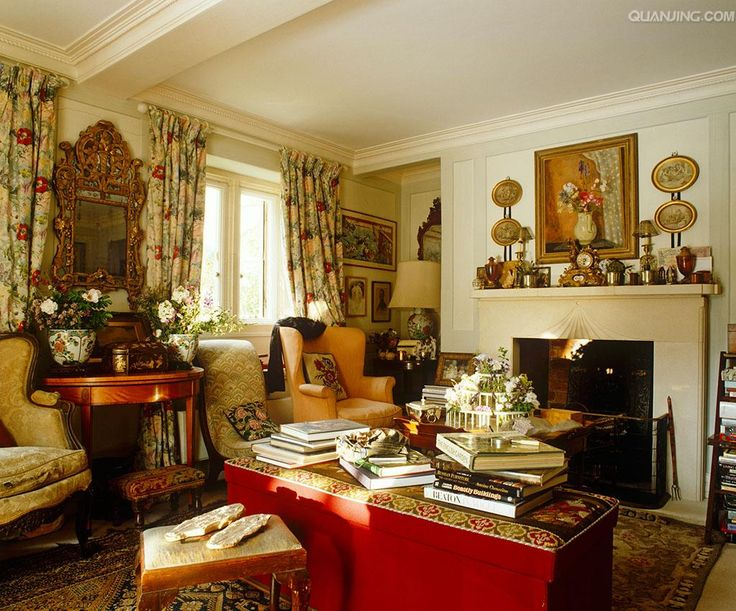 cozy and cluttered English sitting room English cottage