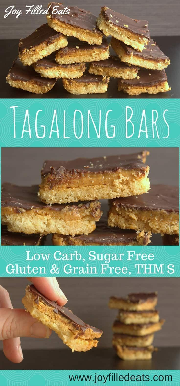 Tagalong Peanut Butter Cookie Bars - Low Carb, Keto, THM S, Grain-Free, Gluten-Free, Sugar-Free. Tagalong Cookies simplified to just 6 ingredients & ready in an hour! These chocolate peanut butter cookie bars taste like your favorite Girl Scout treat!